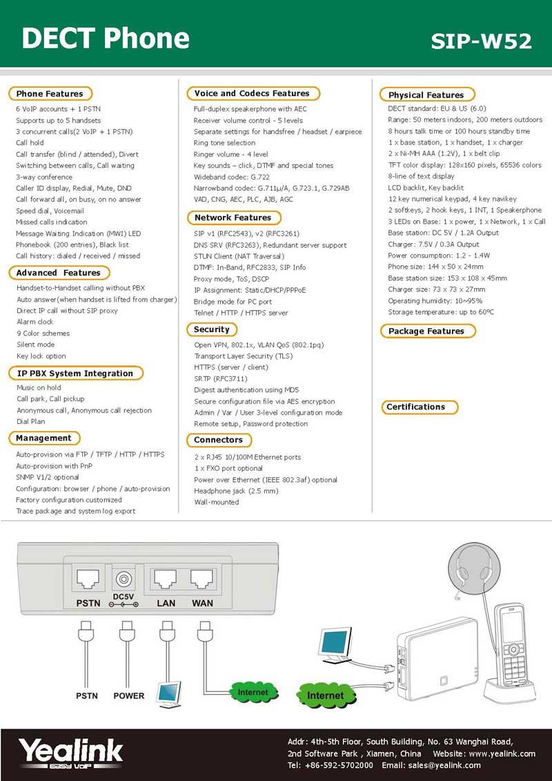 Yealink IP Dect Phone SIP W52TP - SIP-W52-Datasheet Page 2 - Voiz